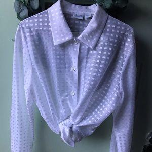 Vintage Sheer White Button Down